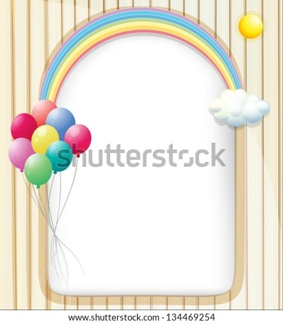 Illustration of an empty template with a rainbow and balloons - stock vector