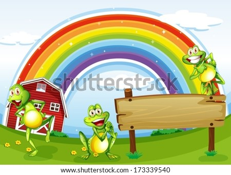Illustration of an empty wooden board with frogs and a rainbow in the sky - stock vector