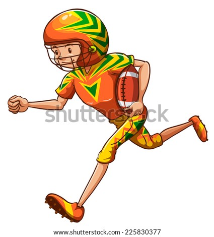 Illustration of an energetic American football player on a white background