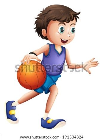 Illustration of an energetic young man playing basketball on a white background - stock vector