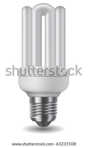 Illustration of an energy saving compact fluorescent lightbulb - stock vector