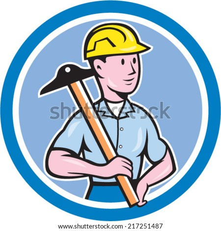 Illustration of an engineer architect draftsman standing holding t-square on shoulder looking to the side set inside circle on isolated background done in cartoon style.