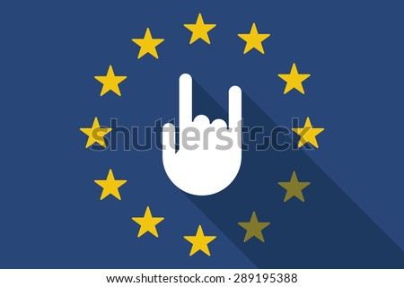 Illustration of an European Union  long shadow flag with a rocking hand - stock vector
