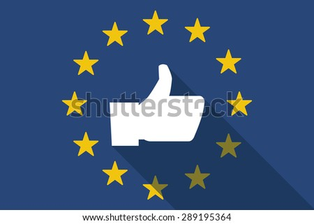 Illustration of an European Union  long shadow flag with a thumb up hand - stock vector