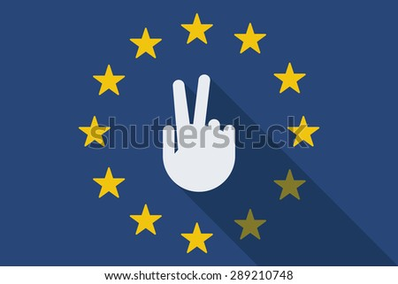 Illustration of an European Union long shadow flag with a victory hand - stock vector
