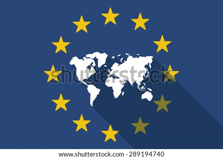 Illustration of an European Union  long shadow flag with a world map - stock vector