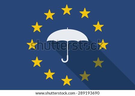 Illustration of an European Union  long shadow flag with an umbrella - stock vector