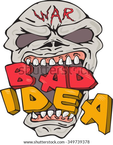 """Illustration of an evil war skull eating biting the words """"War Bad Idea"""" on isolated white background done in cartoon style. - stock vector"""