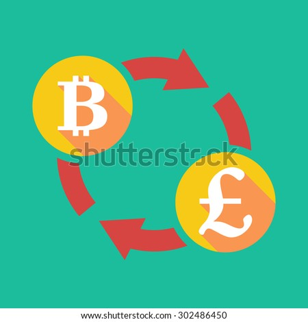 Illustration of an exchange sign with a bit coin sign and a pound sign