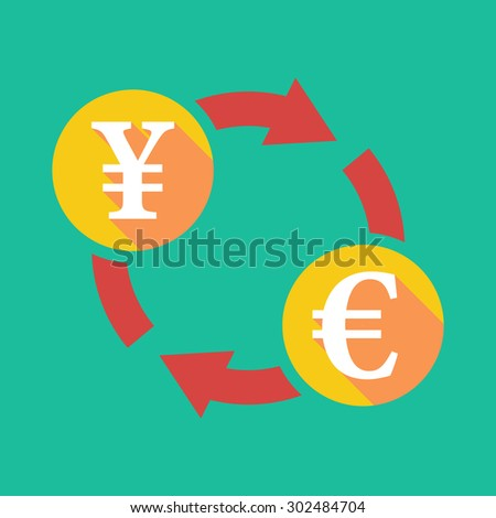 Illustration of an exchange sign with a yen sign and an euro sign - stock vector