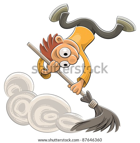 Illustration of an excited cleaner sweeping dust with a broom in a joyful way - stock vector