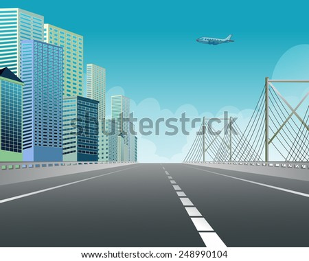 Illustration of an expressway along the city view - stock vector