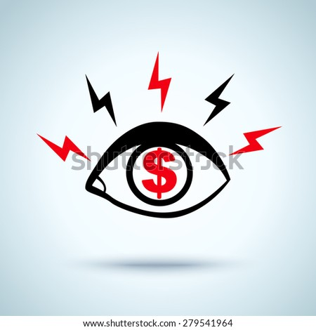 illustration of an eye and dollar sign - stock vector