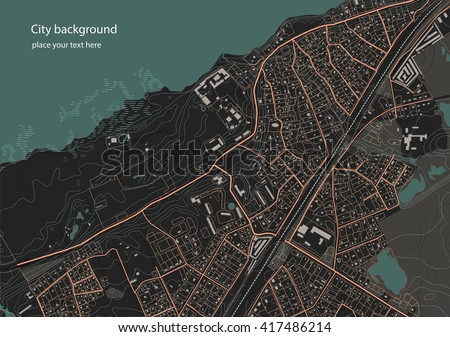 Illustration of an fictional district plan. Quarter residential low-rise buildings on the banks of the river. Vector illustration in dark tones - stock vector