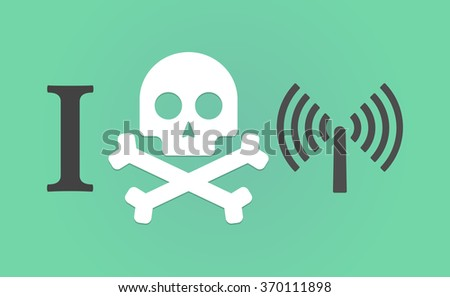 """Illustration of an """"I don't like"""" hieroglyph with an antenna - stock vector"""