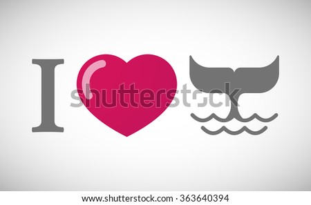 """Illustration of an """"I love"""" hieroglyph with a whale tail - stock vector"""