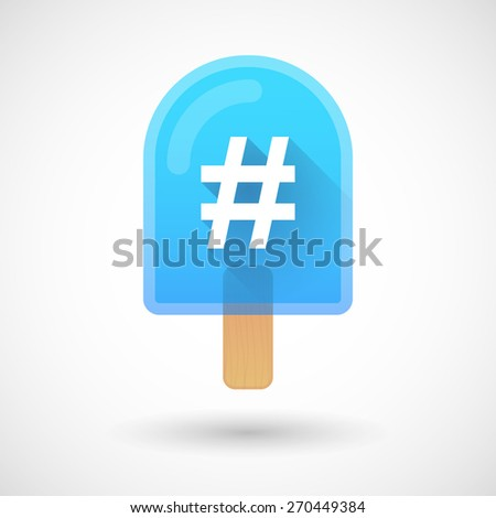 Illustration of an ice cream icon with a hash tag - stock vector