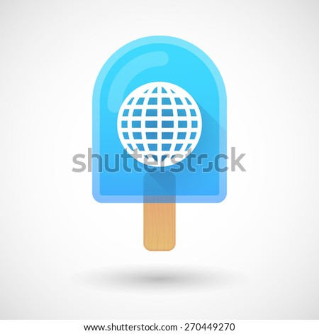 Illustration of an ice cream icon with a world globe - stock vector