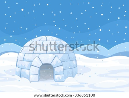 Illustration of an igloo on winter background  - stock vector