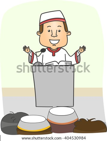 Illustration of an Imam Preaching in Front of a Muslim Audience - stock vector