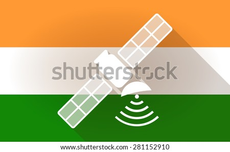 Illustration of an India flag icon with a satelllite - stock vector