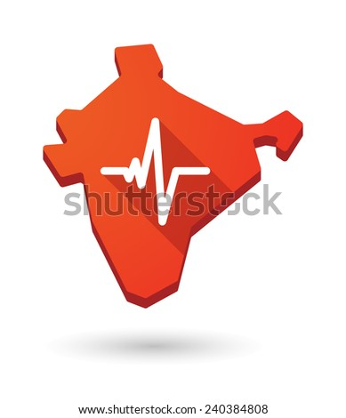 Illustration of an India map icon with a  heart beat sign - stock vector