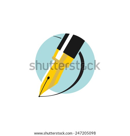 Illustration of an ink pen. Flat colors logo. - stock vector