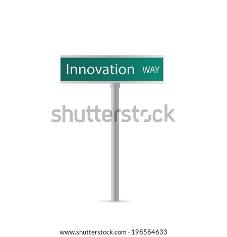 Illustration of an Innovation sign isolated on a white background.
