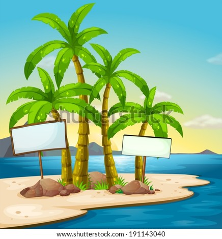 Illustration of an island with signboards - stock vector