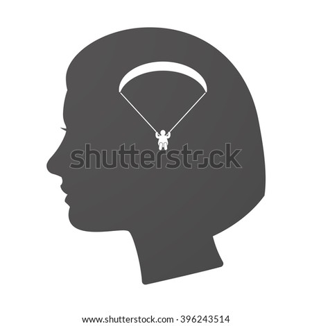 Illustration of an isoalted female head icon with a paraglider - stock vector
