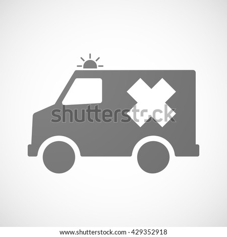 Illustration of an isolated ambulance icon with an irritating substance sign - stock vector