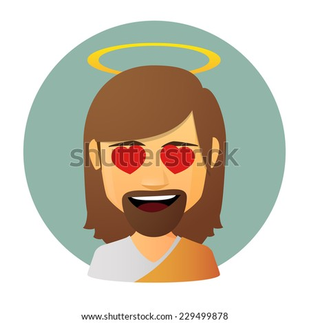 Illustration of an isolated avatar of Jesus with hearts in hi eyes - stock vector