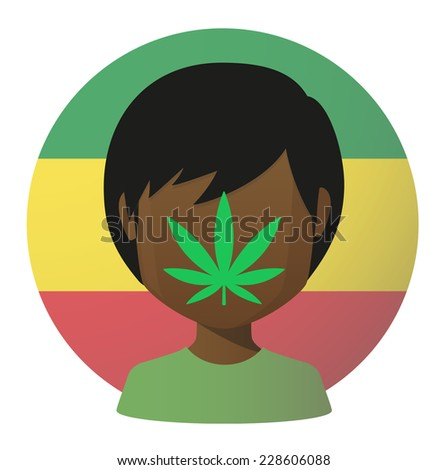 Illustration of an isolated avatar with a marijuana leaf - stock vector