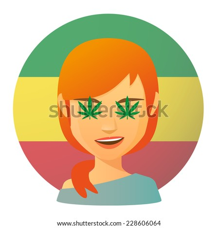 Illustration of an isolated avatar with marijuana leafs - stock vector