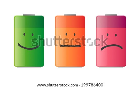 Illustration of an isolated battery icon set - stock vector