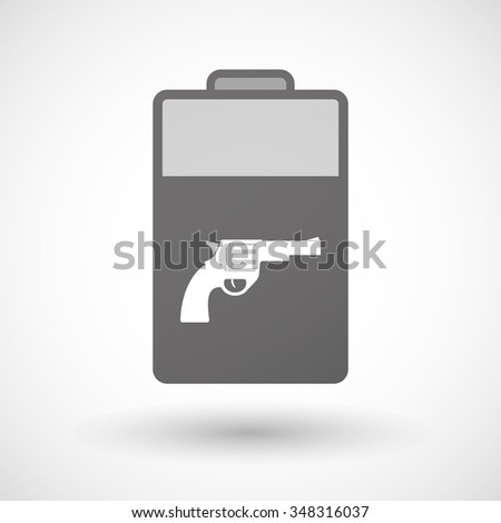 Illustration of an isolated battery icon with a gun