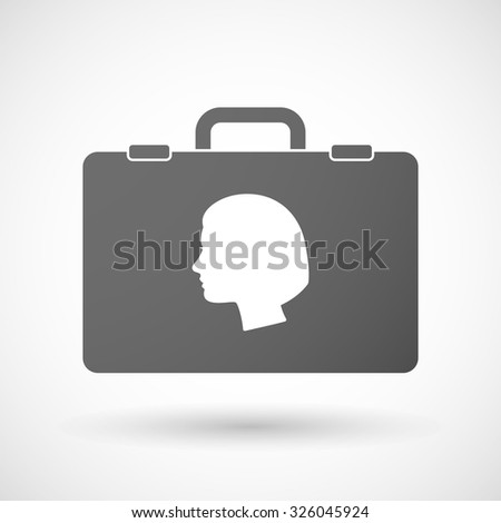 Illustration of an isolated briefcase icon with a female head