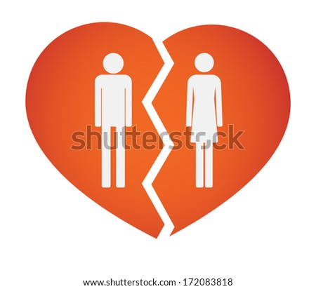 Illustration of an isolated broken heart with male and female pictograms - stock vector