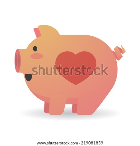 Illustration Of An Isolated Cartoon Pig With A Heart