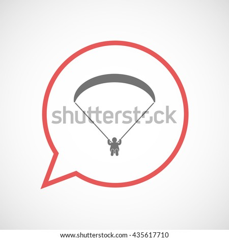 Illustration of an isolated comic balloon with a paraglider - stock vector