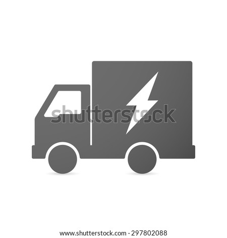 Illustration of an isolated delivery truck icon with a lightning