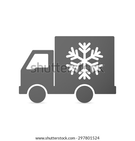 Illustration of an isolated delivery truck icon with a snow flake - stock vector