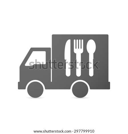 Illustration of an isolated delivery truck icon with cutlery - stock vector