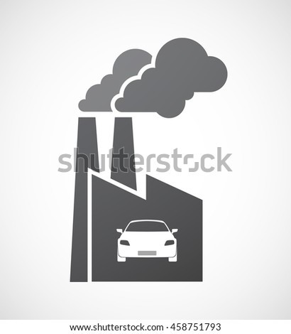 Illustration of an isolated factory icon with a car