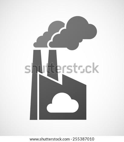 Illustration of an isolated factory icon with a cloud - stock vector