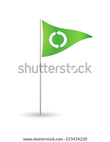 Illustration of an isolated flag with a recycle sign - stock vector
