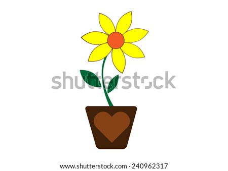 illustration of an isolated flower yellow color