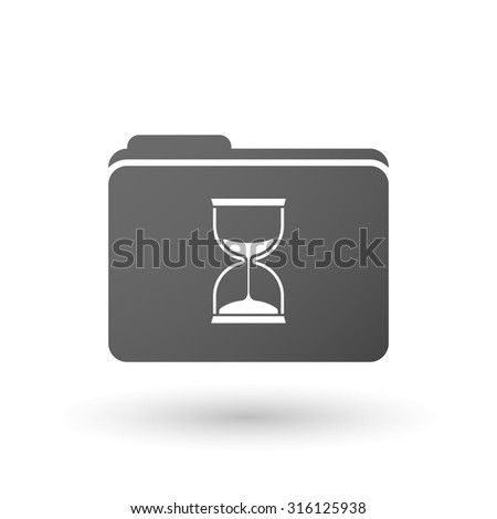 Illustration of an isolated folder with a sand clock - stock vector