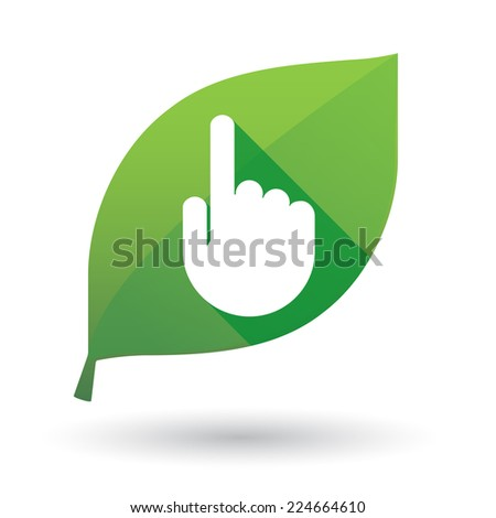 Illustration of an isolated green leaf icon with a hand - stock vector