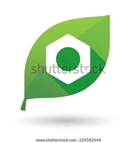 Illustration of an isolated green leaf icon with a nut - stock vector